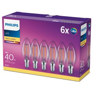 6-pack LED E14 Kron 40W Klar Dimbar WarmG 470