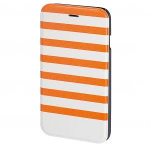 HAMA Plånboksväska DesignLine iPhone6/6S Stripe Orange/Vit